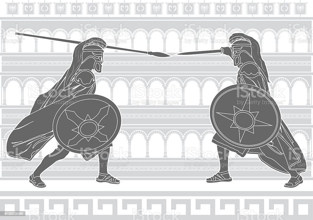 two gladiators vector art illustration
