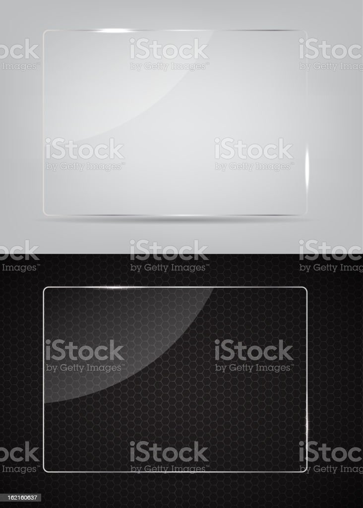 Two glass frames on an abstract black and white background royalty-free stock vector art