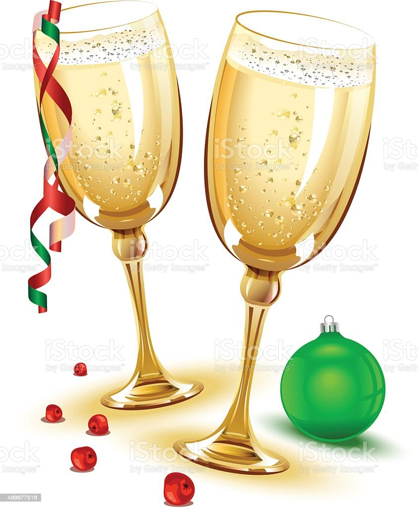 Two glasses of champagne. New Year Eve vector art illustration