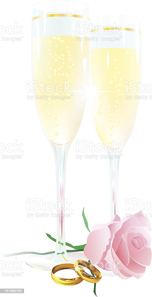 Two glasses of champagne, roses and rings royalty-free stock vector art