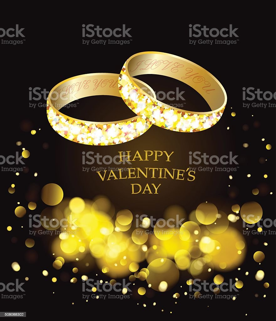 Two gold rings for engagement.Love. Valentines day. vector art illustration