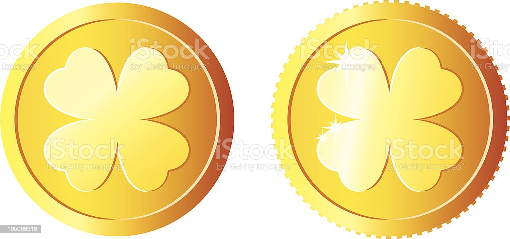 Two golden shamrock coins with a smooth and rough edge royalty-free stock vector art