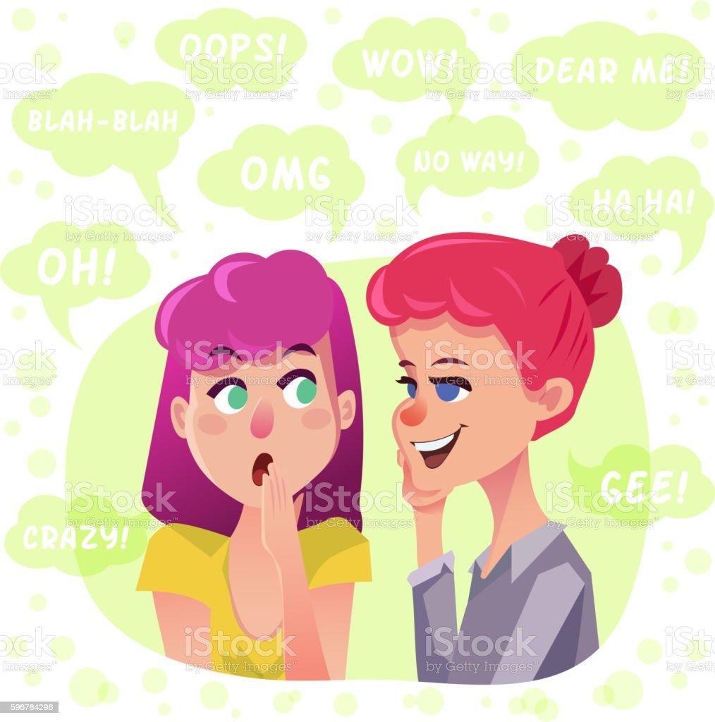 Two gossip girls illustration vector art illustration