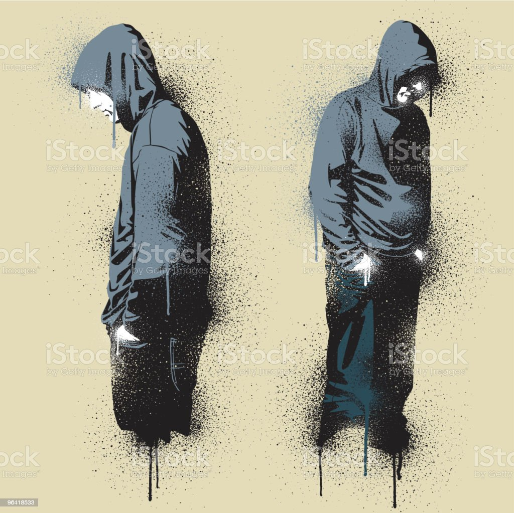 Two graffiti stencil urban angst vector art illustration