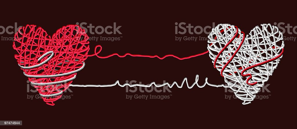 two  graphic hearts vector art illustration