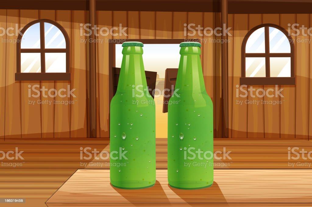 Two green bottles above the table vector art illustration