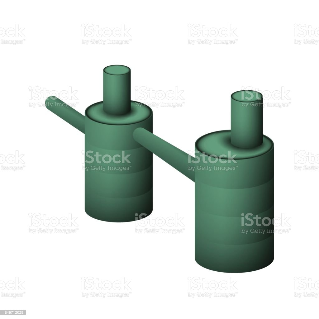 Two green septic tank. vector art illustration