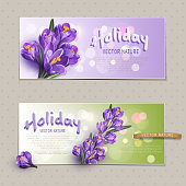 Two greeting cards for the holiday, with blue crocuses