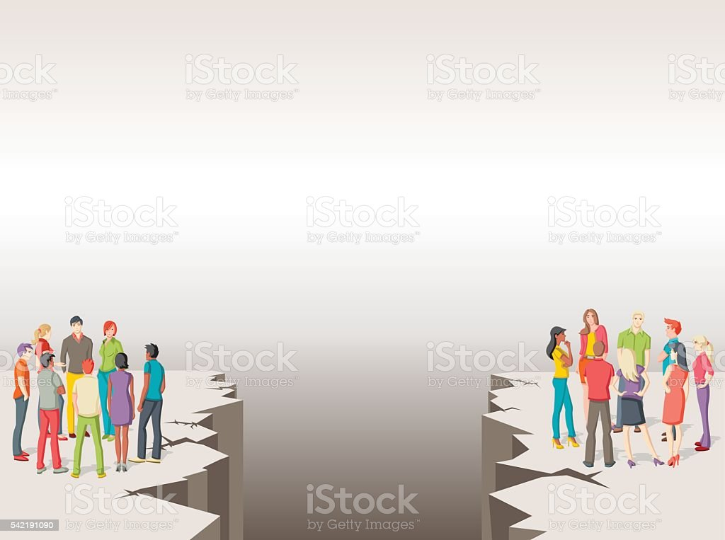 Two groups of people separated by cracked floor. vector art illustration