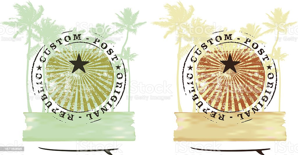 two grunge summer scene with palms and tables royalty-free stock vector art