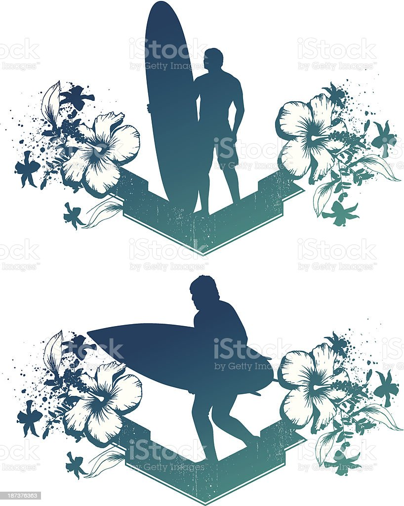 two grunge surf banner with surfers royalty-free stock vector art