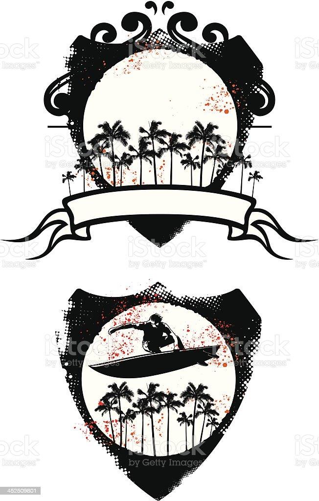 two grunge surf shield vector art illustration