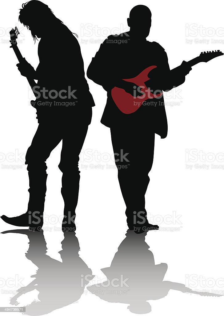 Two guitarists vector art illustration
