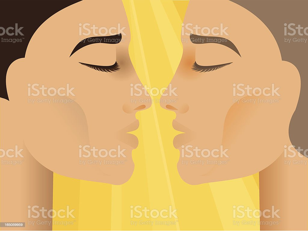 Two guys sbout to kiss royalty-free stock vector art