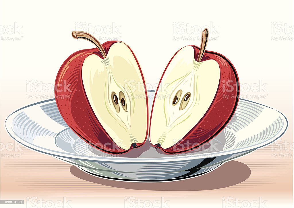 two half apples in the dish royalty-free stock vector art