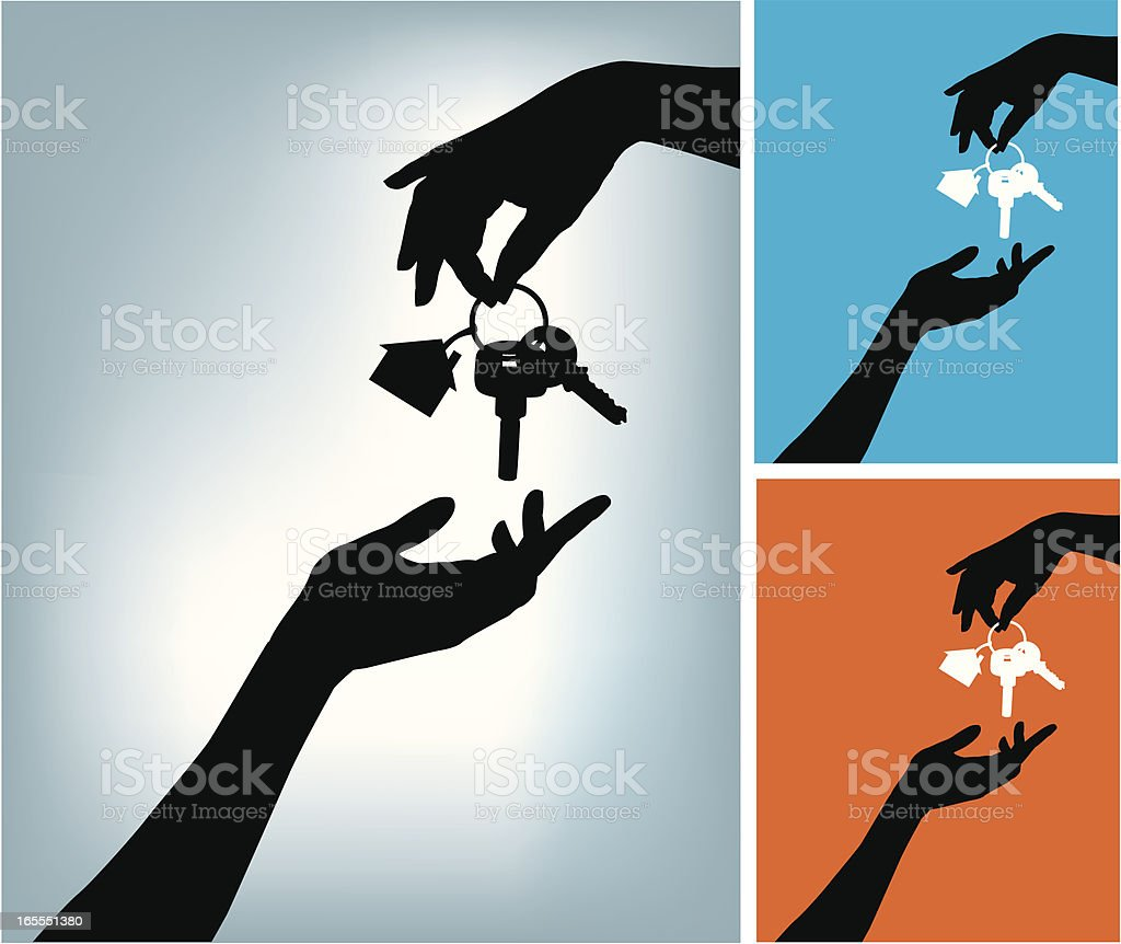 Two hands and a Home Keys vector art illustration