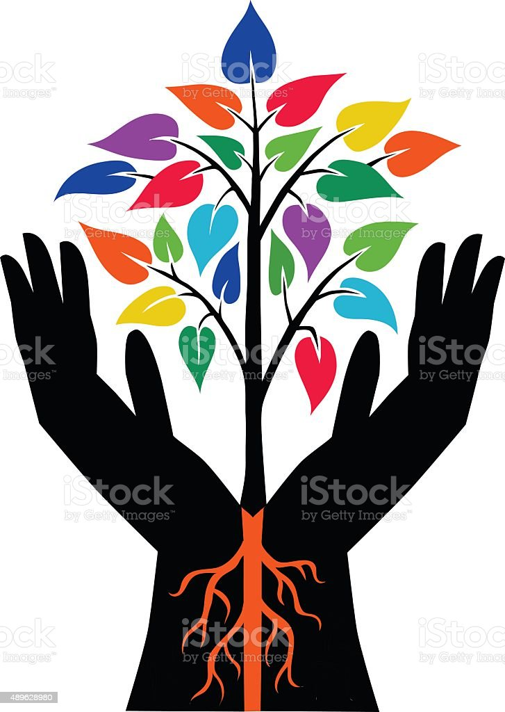 Two Hands and Colorful Plant vector art illustration
