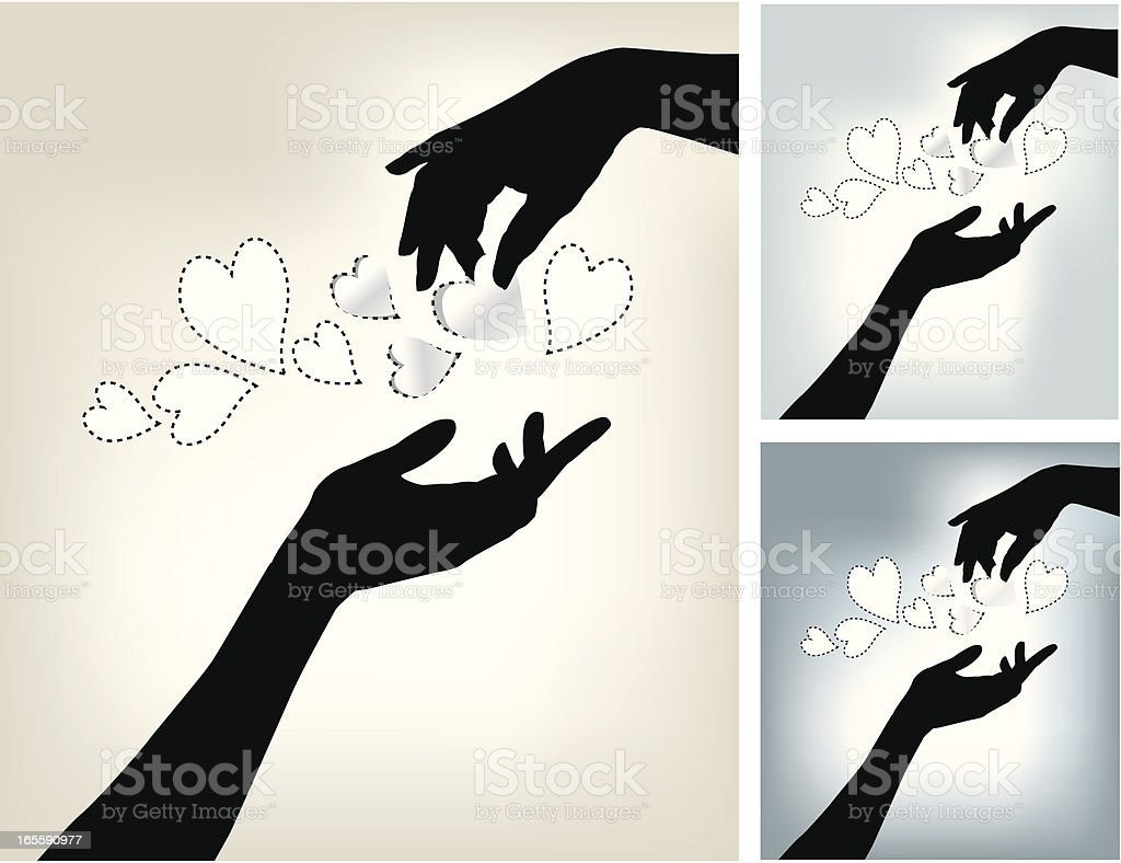 Two Hands and Love vector art illustration