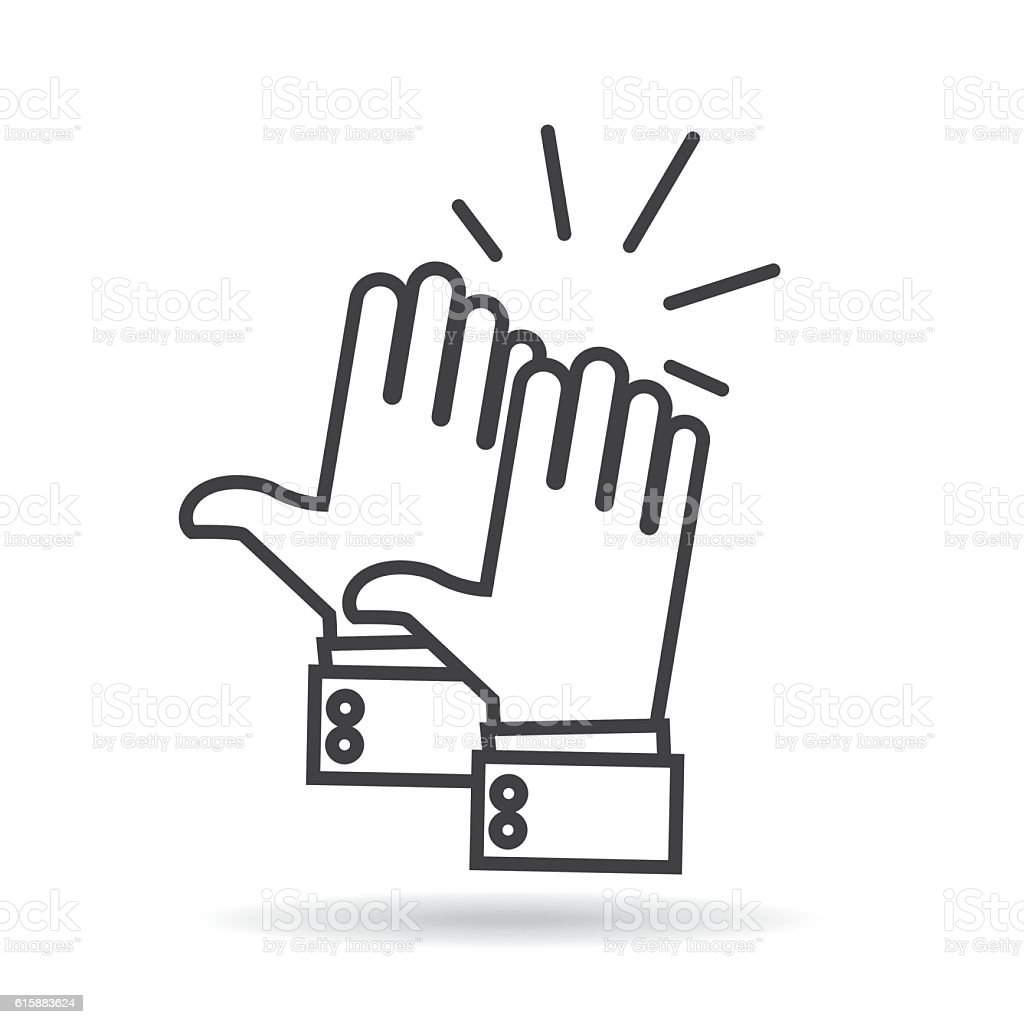 Two hands celebrating vector icons vector art illustration
