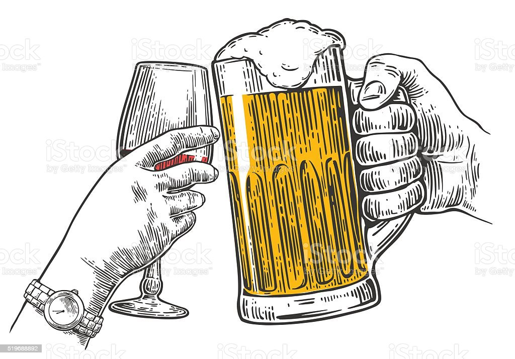 Two hands clink a glass of beer and wine. vector art illustration