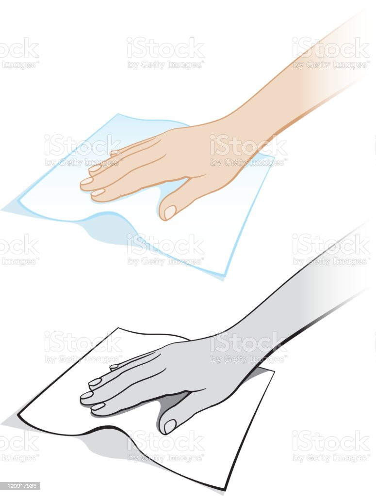Two hands dusting with a cloth vector art illustration