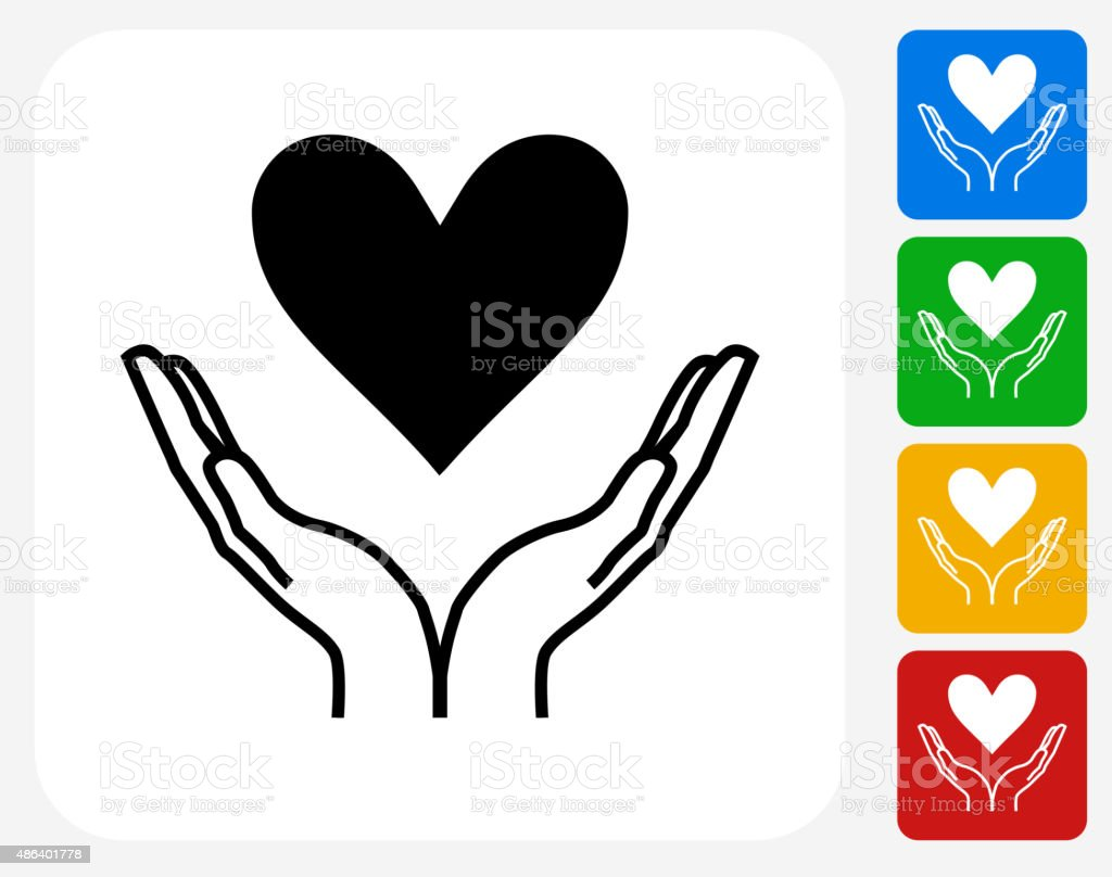 Two Hands Holding a Heart Icon Flat Graphic Design vector art illustration