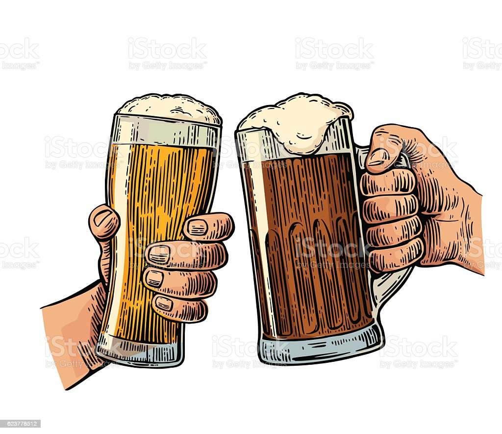Two hands holding and clinking with two beer glasses mug vector art illustration