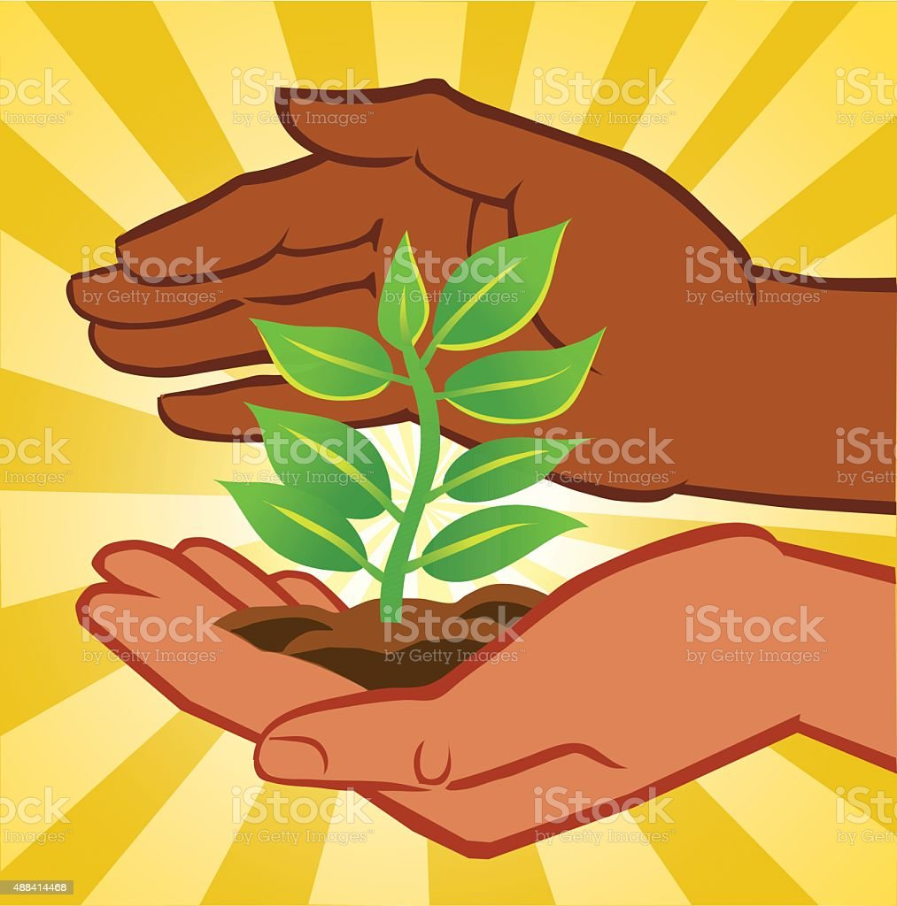 Two Hands Holding Small Plant - Tree vector art illustration