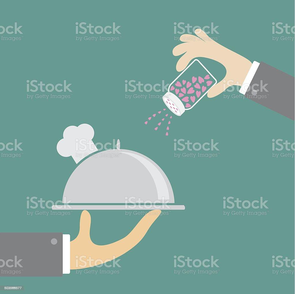 Two hands silver platter cloche chef hat salt shacker. Flat vector art illustration