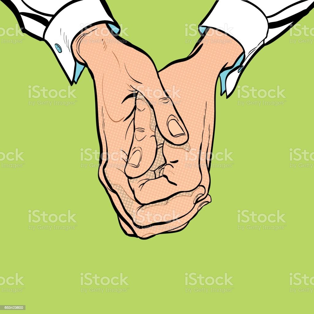 Two hands. Two clasped hands. Sit on one's hands. Man's hand. Man's wrist. White collar vector art illustration