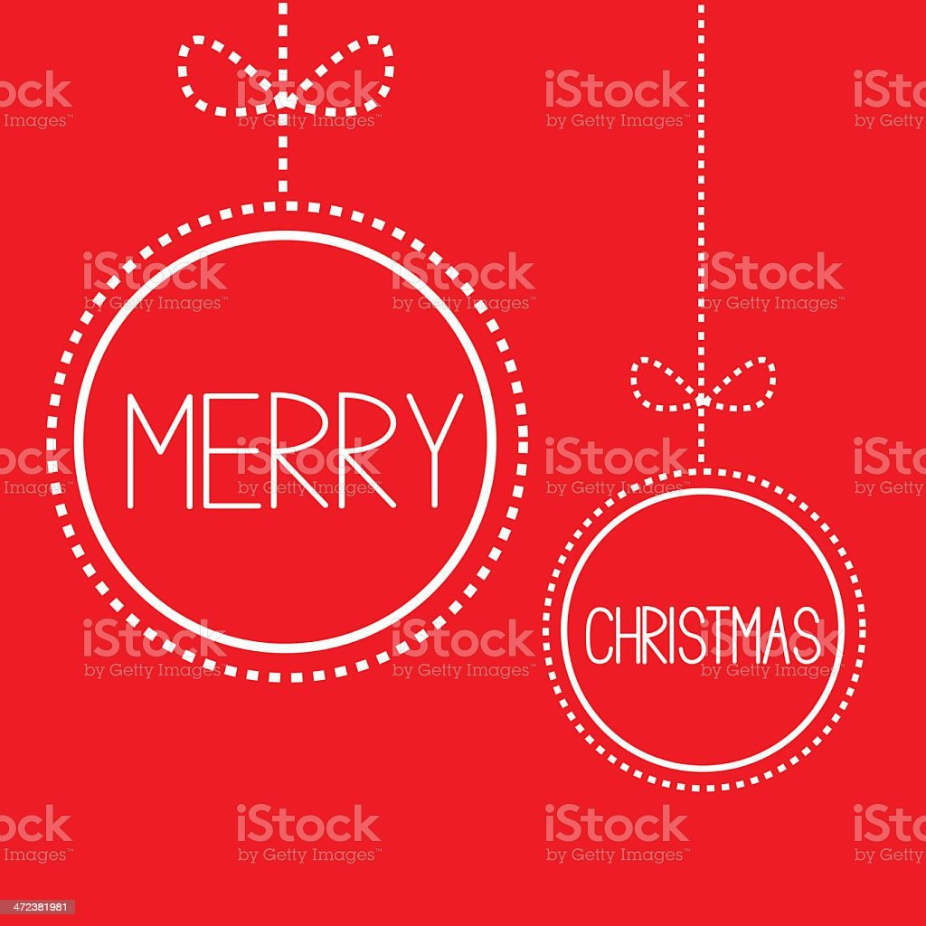 Two hanging red Christmas balls with bow. Card. royalty-free stock vector art