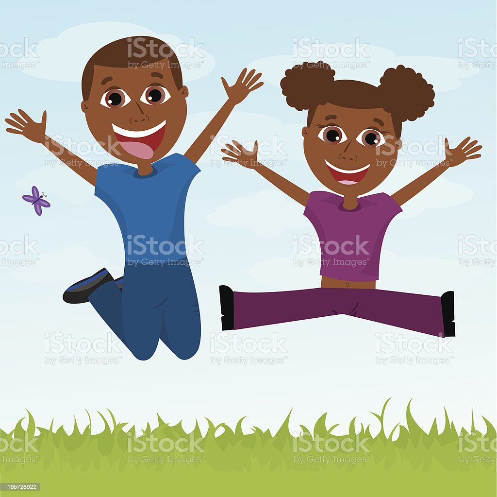 Two Happy African-American Children Jumping royalty-free stock vector art