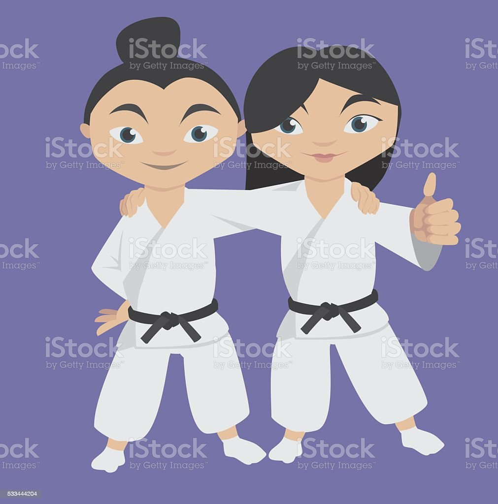 two happy children in fighter kimonos vector art illustration
