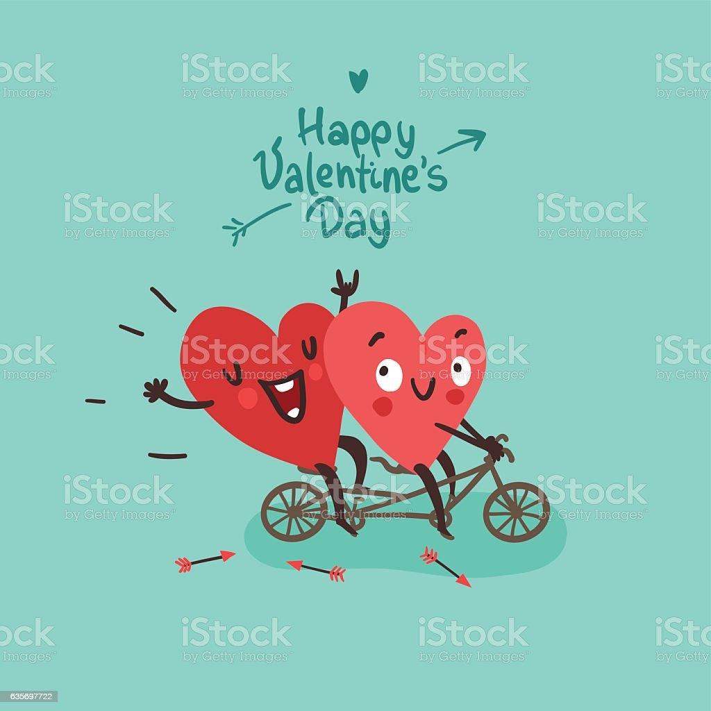 Two happy hearts in love biking vector art illustration
