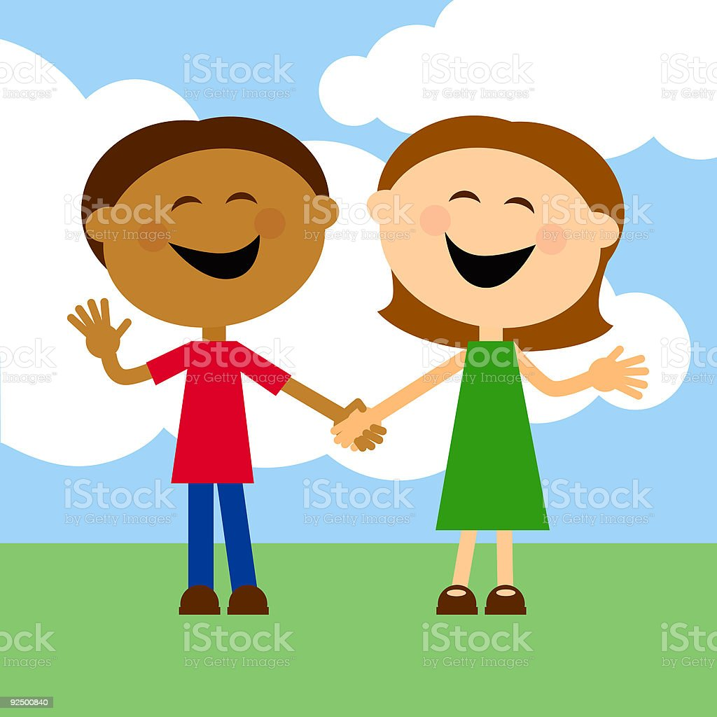 Two Happy Kids Holding Hands royalty-free stock vector art