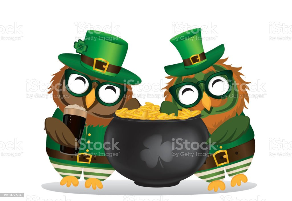 Two happy owls with a pot of gold coins in a national costume and glasses for St. Patrick's Day. The wing climbed into the cauldron. Greeting card for the holiday with a blank space for text or advertising. Invitation. Vector vector art illustration