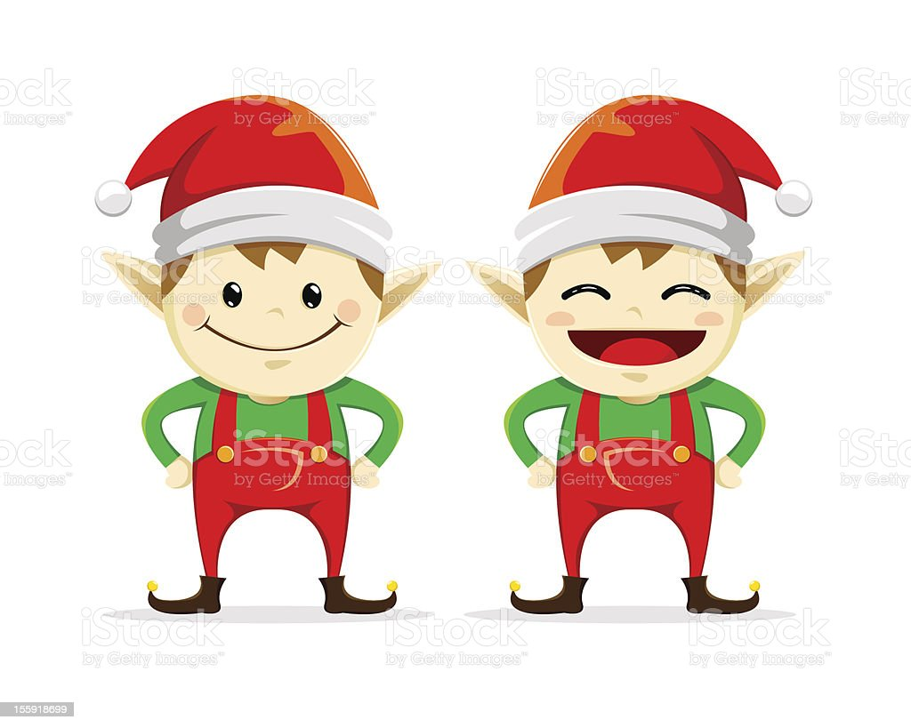 Two Happy Smiling Christmas Elf royalty-free stock vector art