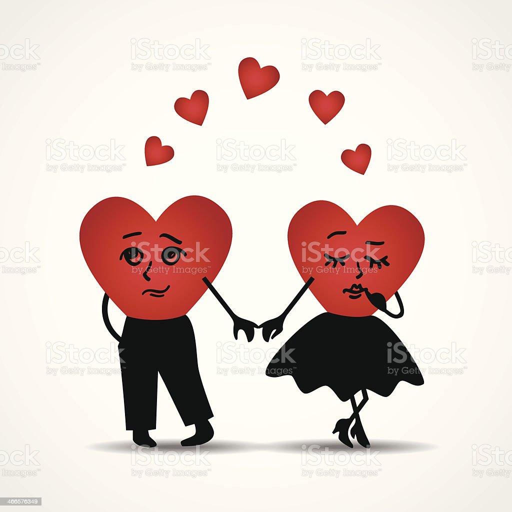 Two hearts in love. Vector illustration. vector art illustration
