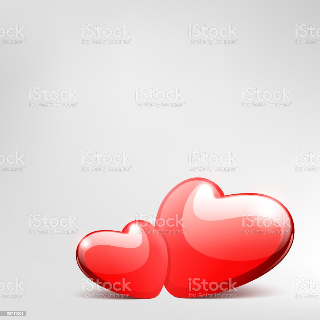 Two hearts Valentine's day vector art illustration