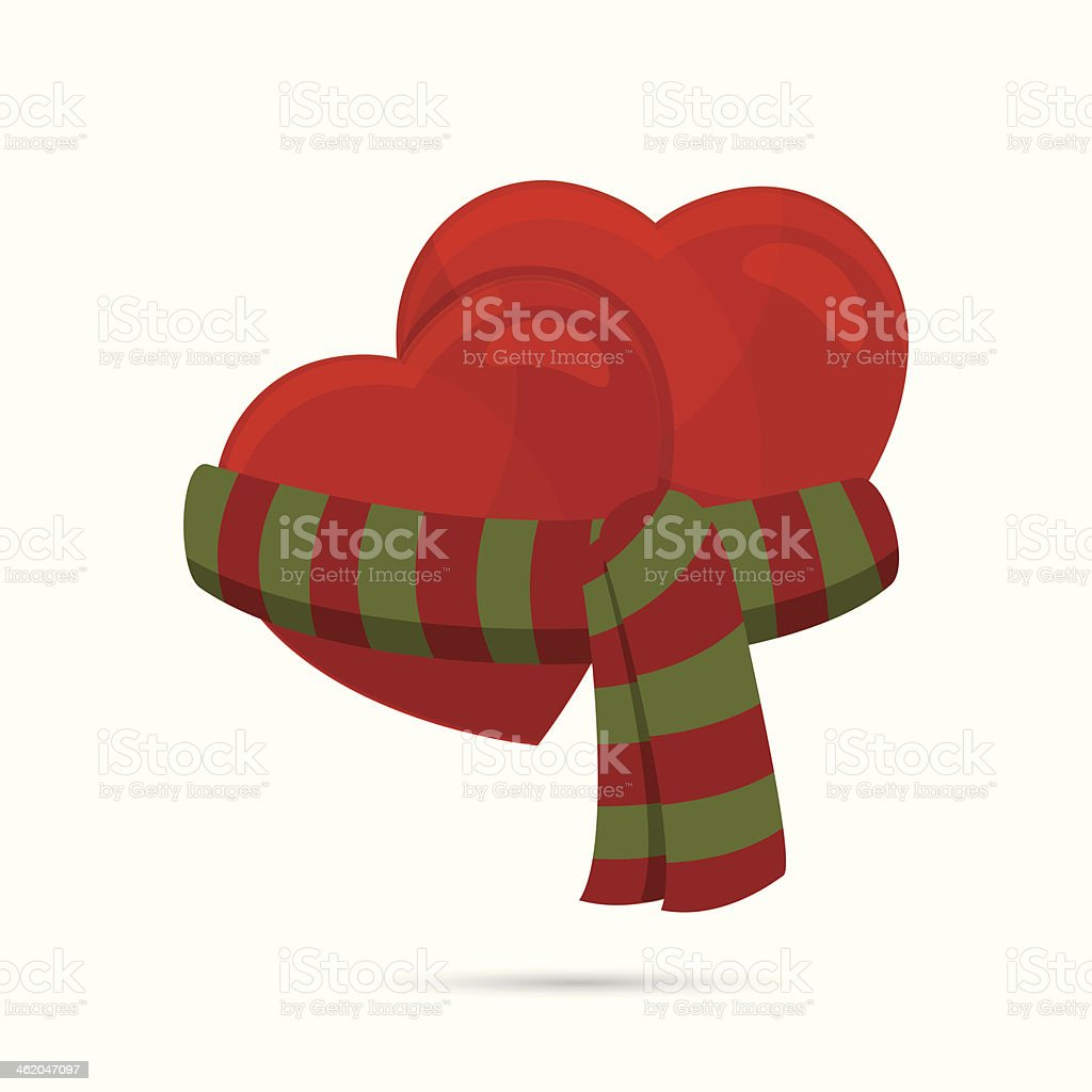 two hearts wrapped up with a scarf vector art illustration