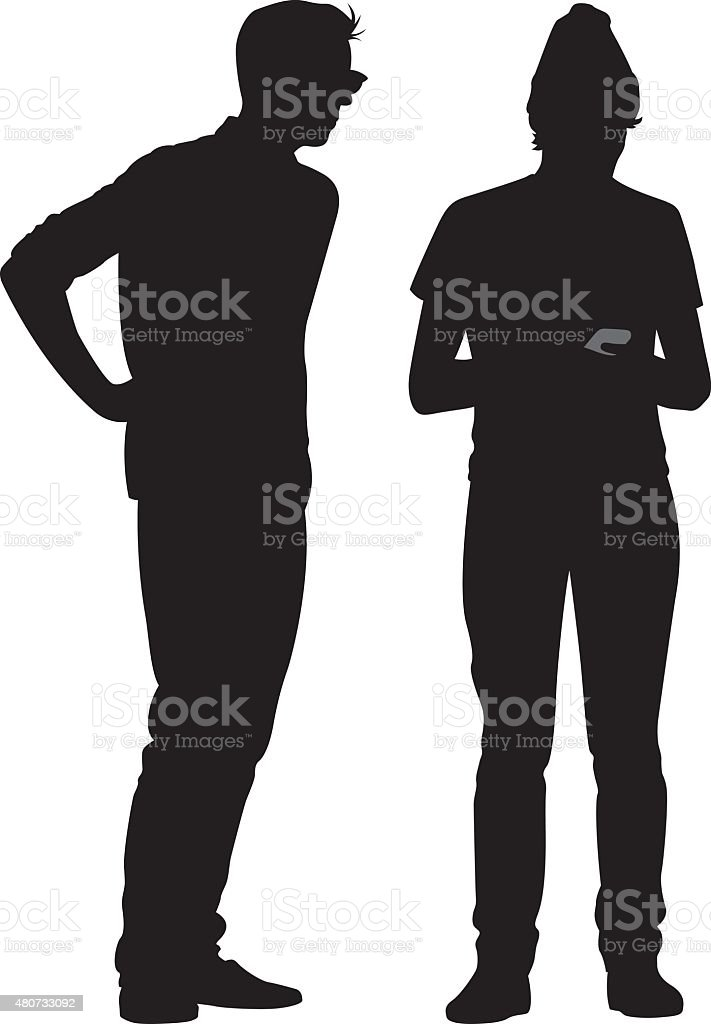 Two Hipsters Silhouettes vector art illustration