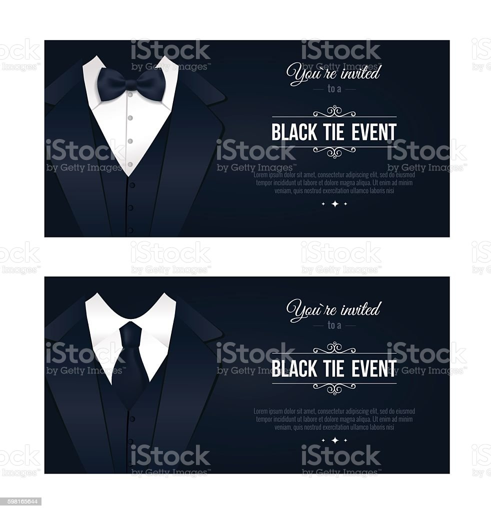Two horizontal Black Tie Event Invitations. vector art illustration