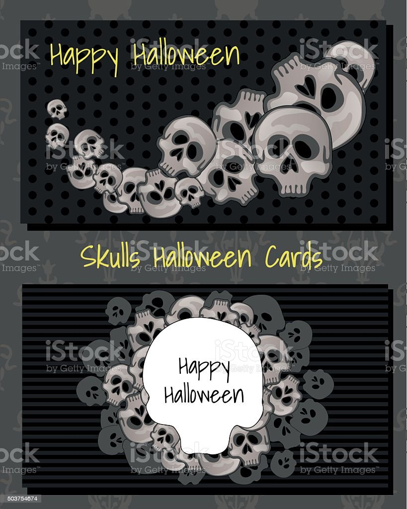 Two horizontal cards with human skulls vector art illustration