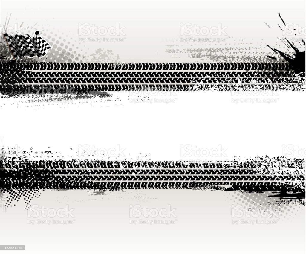 Two horizontal tire texture banners vector art illustration
