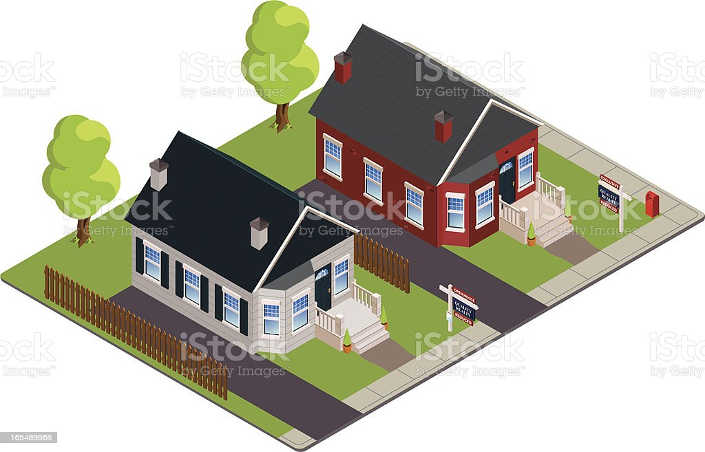 Two Houses For Sale, Isometric royalty-free stock vector art
