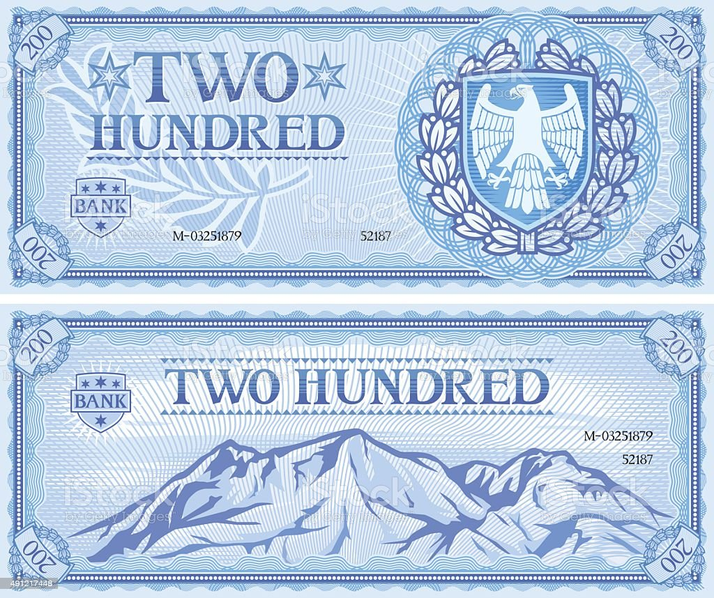 two hundred abstract banknote vector art illustration