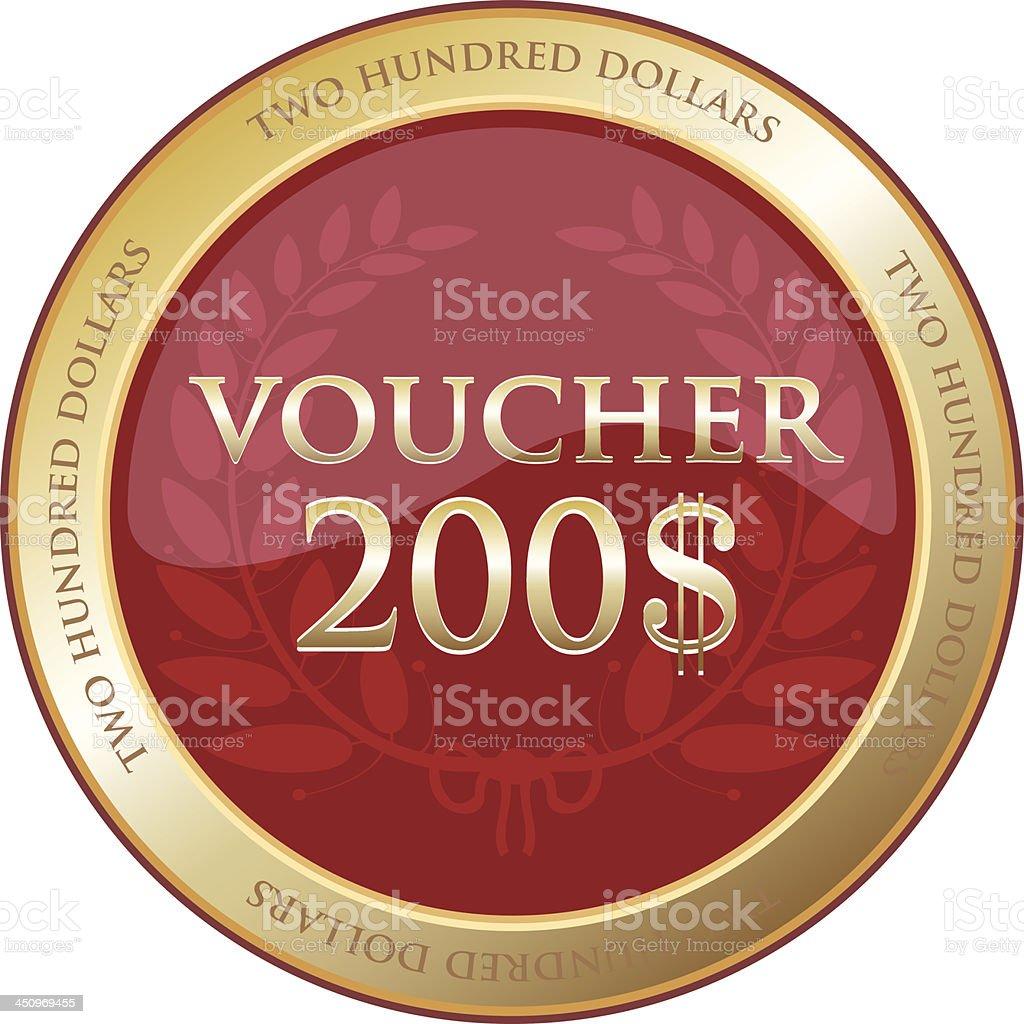 Two Hundred Dollar Voucher vector art illustration