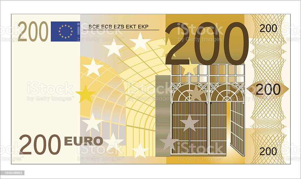 Two hundred euro banknote royalty-free stock vector art