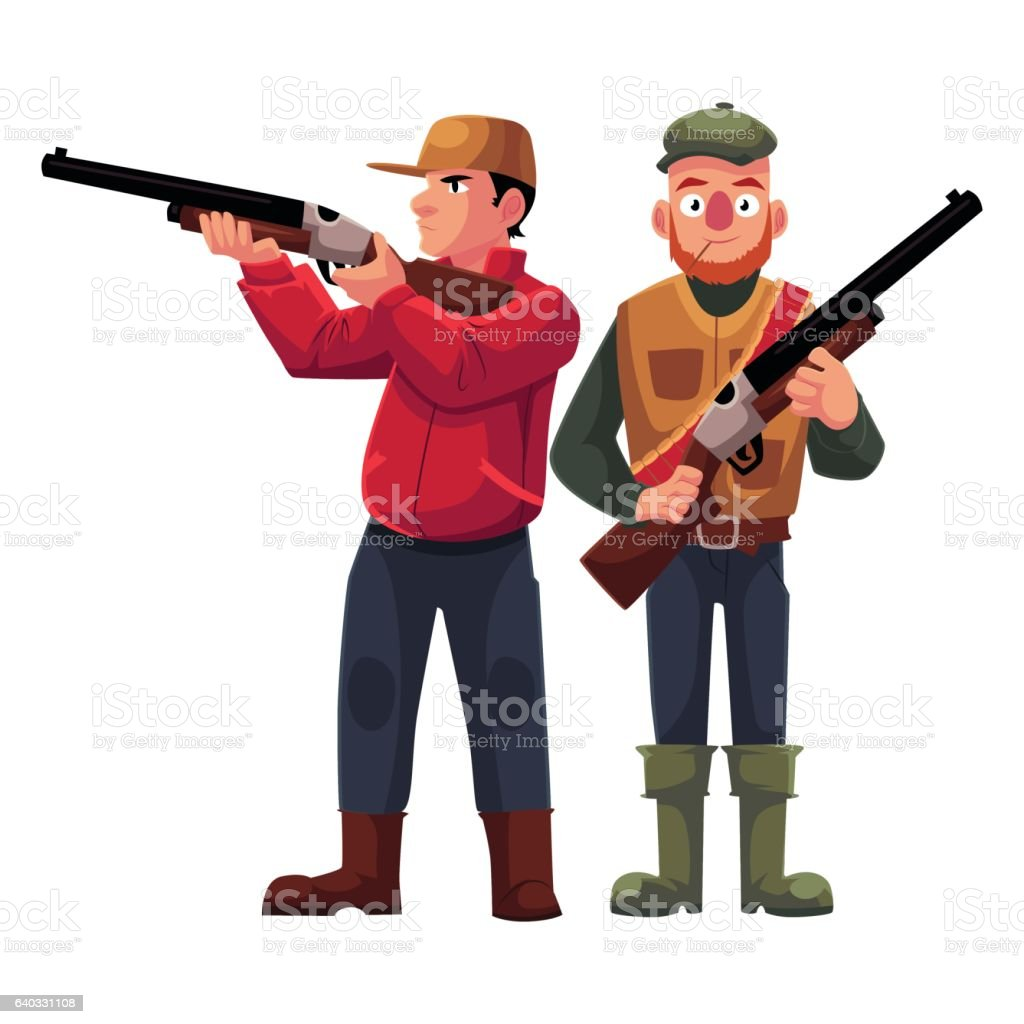 Two hunters, one in vest holding rifle, another aiming vector art illustration