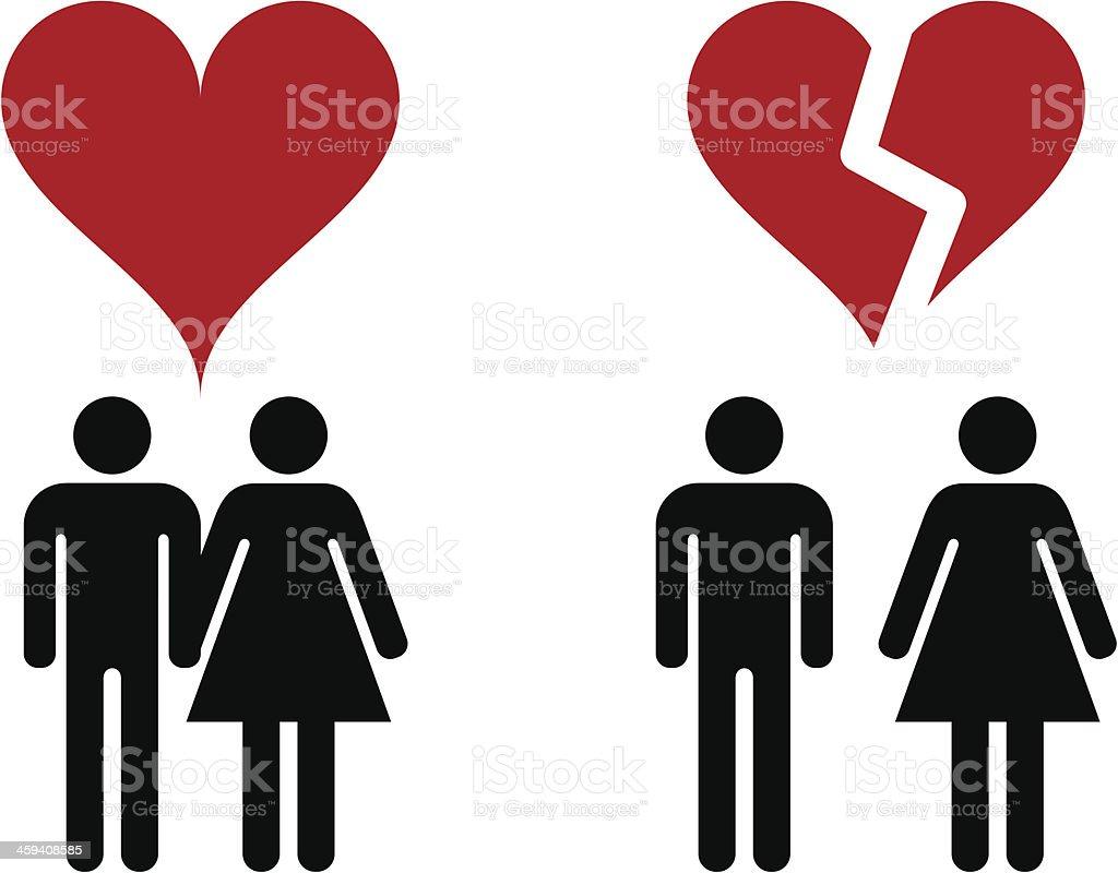 Two illustration of love and heartbreak vector art illustration